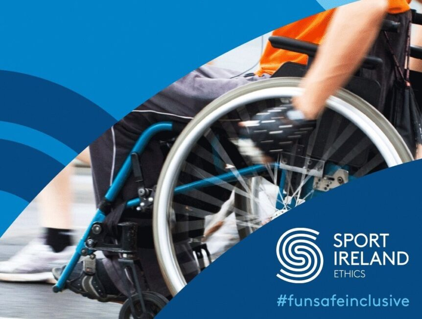 Photo of wheelchair user and Sport Ireland logo