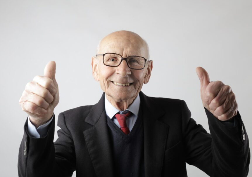 Photo of older man with thumbs up