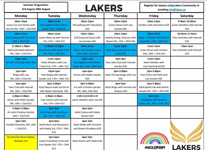 Poster with summer programme events